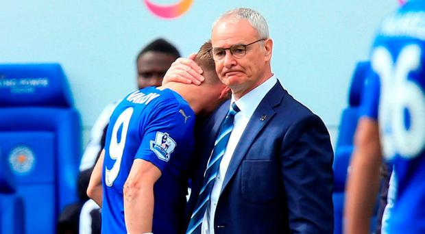 Leicester boss Claudio Ranieri consoles Vardy. Photo: Mike Egerton/PA Wire.