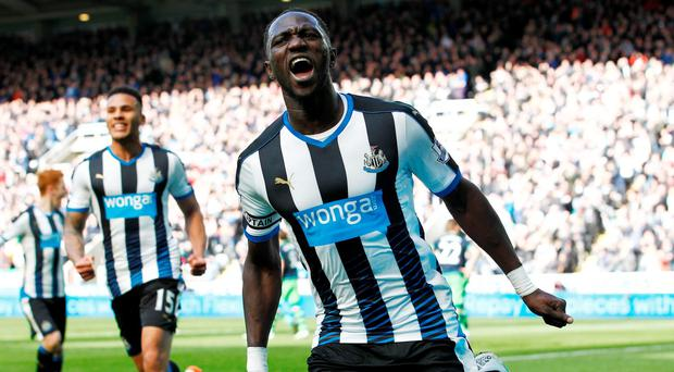 Moussa Sissoko celebrates scoring the second goal for Newcastle United at St James' Park. Photo: Craig Brough/Reuters
