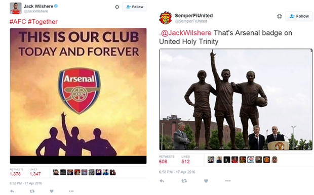 Whoops. Jack Wilshere has made a mistake on Twitter Credit: Twitter