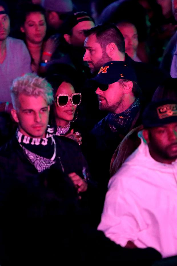 Singer Rihanna and actor Leonardo DiCaprio attend the Levi's Brand And RE/DONE Levi's Present NEON CARNIVAL With Tequila Don Julio on April 16, 2016 in Thermal, California. (Photo by Jesse Grant/Getty Images for Best Events)