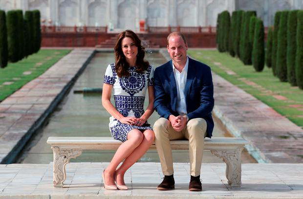 Prince William and Kate Middleton's Royal India Tour Day Seven: for her iconic shot at the Taj Mahal, Kate wore a dress by Naeem Khan and a pair of earrings she purchased at a market in Bhutan for less than €10.