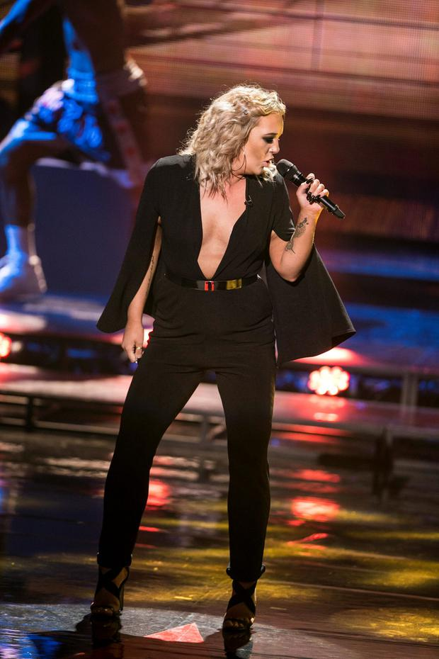Team Kian Jasmine Kavanagh during the Semi Final of The Voice Of Ireland in The Helix. kobpix NO FEE FOR REPRO