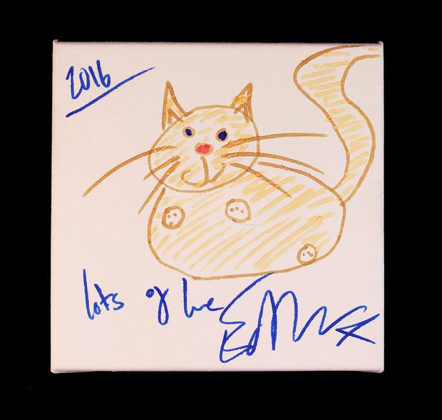 Undated handout photo issued by Breast Cancer Now of a drawing by Ed Sheeran, which will sell at Art For Cure's Make Your Mark online auction to raise money for breast cancer. Breast Cancer Now/PA Wire