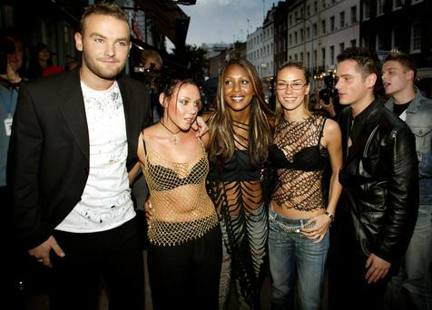 LONDON - SEPTEMBER 3: (L to R) Kevin Simm, Michelle Heaton, Kelli Young, Jessica Taylor and Tony Lundon of Liberty X arrive at a reception and private celebrity screening for