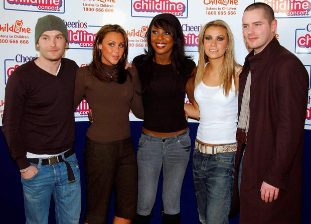 DUBLIN, IRELAND - JANUARY 29: (L-R) Kevin Simm, Michelle Heaton, Kelli Young, Jessica Taylor and Tony Lundon of Liberty X pose backstage at the Childline 2006 concert, which was presented by Stephen Gately and Keith Duffy at The Point Theatre on January 29, 2006 in Dublin, Ireland. (Photo by ShowBizIreland/Getty Images)