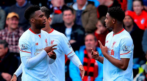 Daniel Sturridge (L) celebrates scoring in the win over Bournemouth yesterday with Jordon Ibe