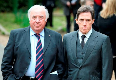 Jimmy Tarbuck and Rob Brydon arrive for the funeral service of Ronnie Corbett, at St John the Evangelist Church, near the late comedian's home in Shirley, Croydon, south London Credit: Steve Parsons/PA Wire