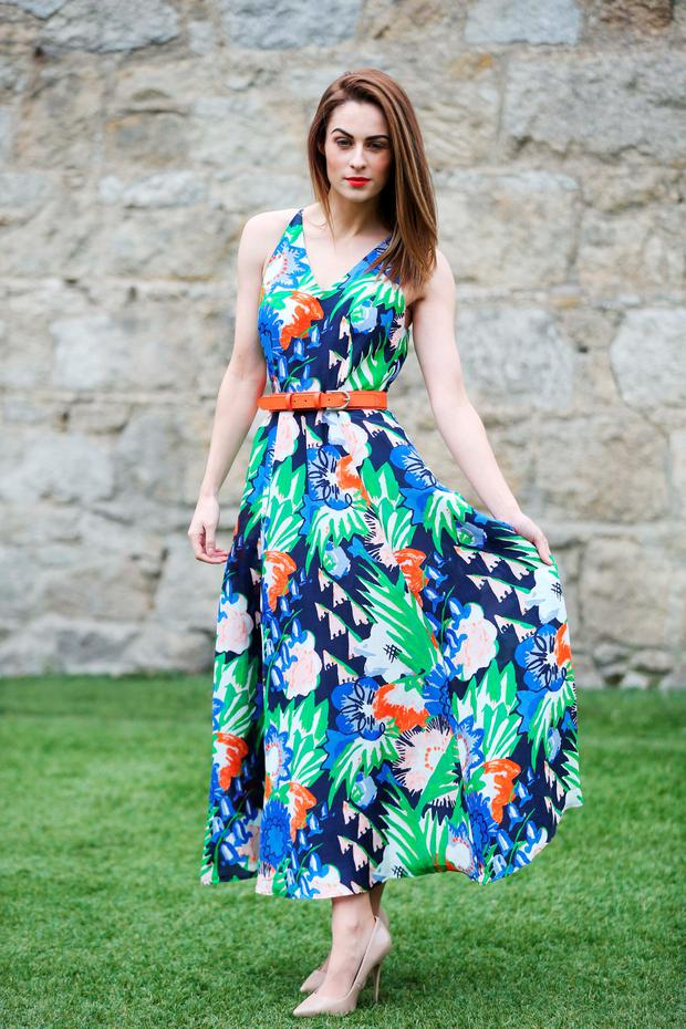 Madeline Mulqueen wearing LK Bennett flowered midi dress 395.00.euro pictured at the launch of the third Shop For Good fundraising initiative in aid of Console at Dundrum Town Centre