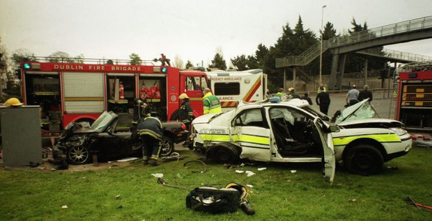 The scene of the crash in which two gardai were killed