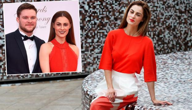 Madeline Mulqueen at a photocall and (inset) pictured with fiancé Jack Reynor