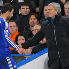 Jose Mourinho and Cesc Fabregas prior to the former's dismissal as Chelsea manager.
