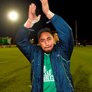Bundee Aki acknowledges Connacht supporters after the win over Munster. Photo: Sportsfile