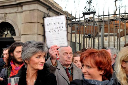 Mannix Flynn at a protest outside the Dáil for Magdalene Laundries victims. Photo: Clodagh Kilcoyne