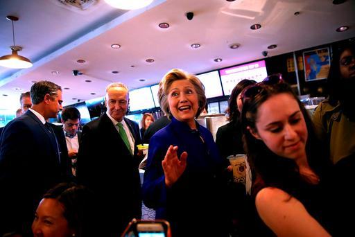 Hillary Clinton greets shoppers at Queens Crossing mall in the Queens borough of New York City. Photo: Getty Images