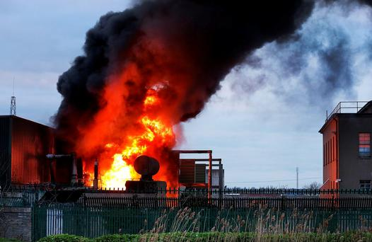 The scene of the fire at the ESB substation in Bluebell in south Dublin. Photo: Steve Humphreys