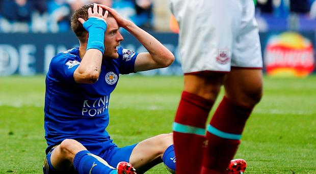 Leicester's Jamie Vardy reacts to being shown a red card. Photo: Reuters