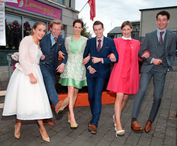 (L to R) Jockeys Kate Harrington, Barry Fogarty, Rachel Blackmore, Brian Cooper, Nina Carberry and Patrick Mullins at the launch of the Punchestown Festival. Picture: Brian McEvoy