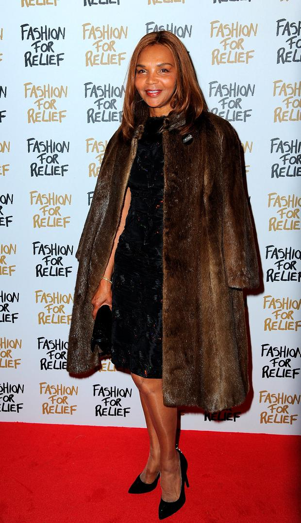 Naomi Campbell's mother Valerie Morris attends the Fashion For Relief charity fashion show to kick off London Fashion Week Fall/Winter 2015/16 at Somerset House on February 19, 2015 in London, England.