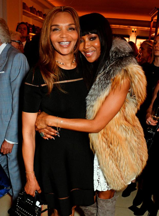Naomi Campbell (R) and mother Valerie Morris attend an event hosted by Naomi Campbell, Burberry and TASCHEN to celebrate the launch of 'Naomi' at Burberry's at Thomas's on April 18, 2016 in London, Englan (Photo by David M. Benett/Dave Benett/Getty Images for Burberry)
