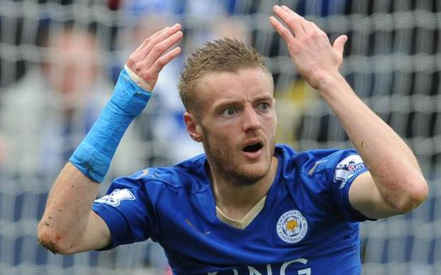 Jamie Vardy has been charged with improper conduct by the FA for his words and demeanour towards Jonathan Moss Credit: AP