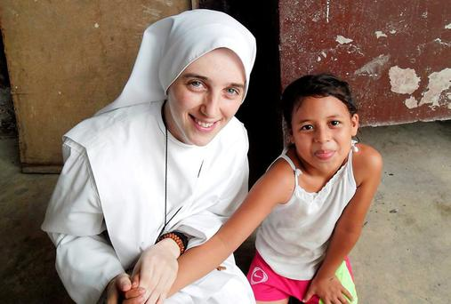 St Therese Ryan with a student at the school in Playa Prieta in the province of Manabí in Ecuador