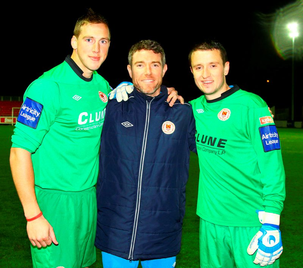 St Patrick's Athletic goalkeeper Pat Jennings Jnr, pictured here (c) with Rene Gilmartin (l) and Brendan Clarke