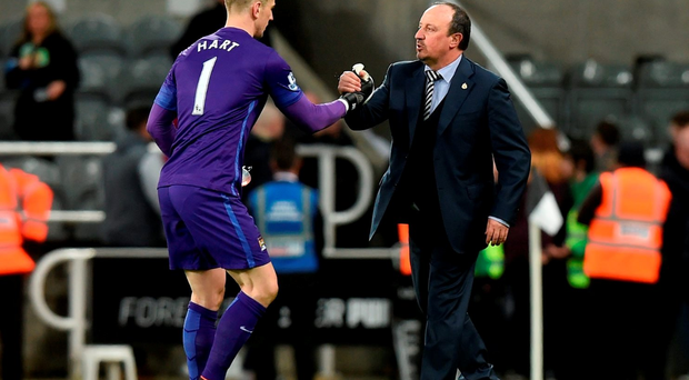 NEWCASTLE UPON TYNE, ENGLAND - APRIL 19: Goalkeeper Joe Hart of Manchester City shakes hands with Rafael Benitez the manager of Newcastle United following the final whistle during the Barclays Premier League match between Newcastle United and Manchester City at St James' Park on April 19, 2016 in Newcastle, England. (Photo by Michael Regan/Getty Images)