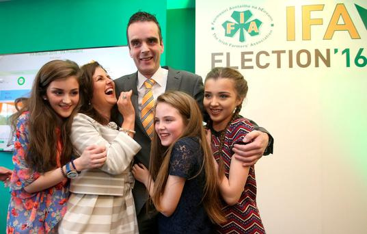 Joe Healy celebrates with his wife, Margaret, and daughters Kiara (14), Anna (11) and Nicole (15) after his election as IFA president in the Castleknock Hotel, Dublin. Photo: Damien Eagers