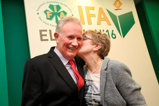 Newly elected IFA deputy president Richard Kennedy is congratulated by his wife Helen. Photo: Finbarr O'Rourke