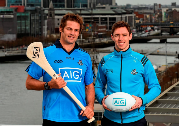 All Black legend and AIG ambassador, Richie McCaw, and Dublin hurler, Paul Schutte, were in Dublin yesterday to help promote AIG Insurance's Telematics car insurance. The product, aimed at 21-34 year olds or Generation Y, is designed to encourage and reward safe driving in Ireland by offering up to a 30 per cent discount to those who display high standards of driving. For more info log on to www.aig.ie or call 1890 27 27 27. Pic: Stephen McCarthy/Sportsfile