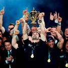 Richie McCaw lifts the Webb Ellis Cup following New Zealand's victory over Australia at Twickenham. Photo: Getty
