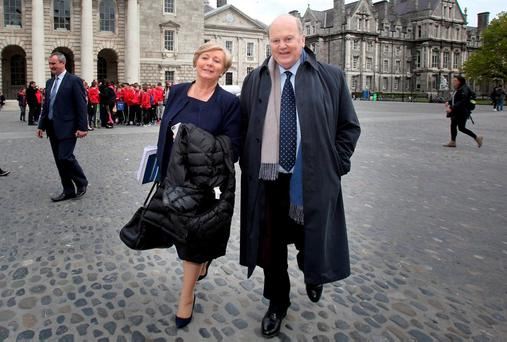 Acting ministers Michael Noonan and Frances Fitzgerald of the Fine Gael team arriving for talks in the Provost's house in Trinity College with Fianna Fáil on the formation of a minority government. Photo: Tom Burke