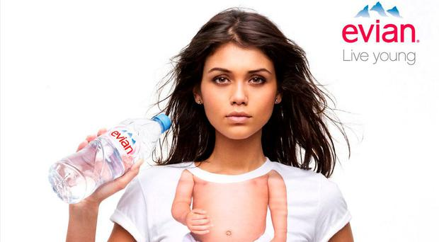 A model poses for Evian's 'Live Young' campaign