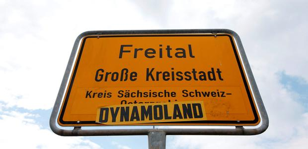 A city sign is pictured in the town of Freital near Dresden. Photo: Reuters