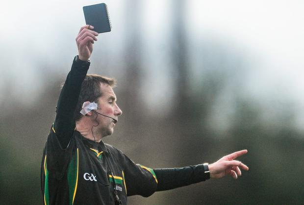 The number of black cards shown in regulation football League games has jumped by 50pc in just two seasons. Photo: David Maher / Sportsfile