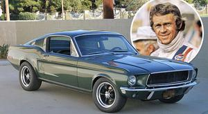 Legendary actor Steve McQueen and the Ford Mustang he drove in the film 'Bullitt'