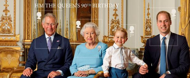 This Stamp Sheet issued by the Royal Mail to mark the 90th birthday of Queen Elizabeth II features four generations of the Royal family, from left, the Prince of Wales, Queen Elizabeth II, Prince George and the Duke of Cambridge, and was taken in the summer of 2015. Photo: Ranald Mackechnie/Royal Mail/PA Wire