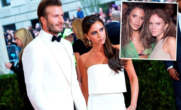 Victoria and David Beckham at the 2014 Met Gala and (inset) Victoria with her sister Louise Adams