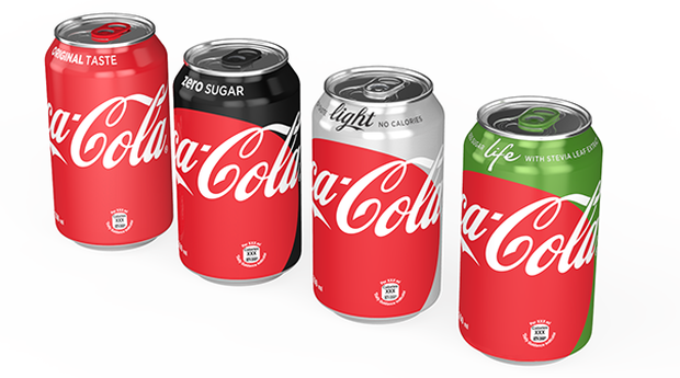The new line up of Coke cans