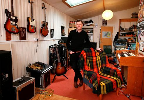 Musician/ Actor Steve Wall pictured in his studio at Greenmount, Harolds Cross. Photo : Frank Mc Grath.