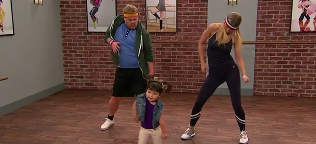 James Corden and Gwyneth Paltrow are put through their paces in 'Toddlerography'. Photo: YouTube / The Late Late Show / CBS