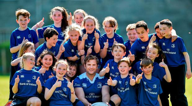 Jamie Heaslip at the launch of the Bank of Ireland Leinster Rugby Camps in St Mary's National School, Ranelagh Photo: Matt Browne / SPORTSFILE