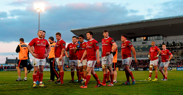 Munster players after conceding their third try against Connacht last weekend Photo: Stephen McCarthy / SPORTSFILE