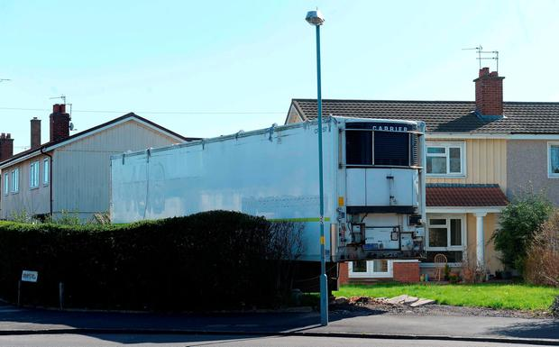 The lorry trailer belonging to Iftikhar Azam outside his mother's home in Sheldon, Birmingham which has been fitted out as living accommodation. PRESS ASSOCIATION Photo. Issue date: Wednesday April 20, 2016. Matthew Cooper/PA Wire
