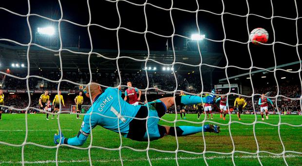 Mark Noble scores his second penalty of the night in West Ham's victory. Photo: Mike Hewitt/Getty Images
