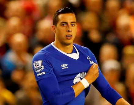 Everton's Ramiro Funes Mori after being sent off. Photo: Carl Recine/Action Images via Reuters