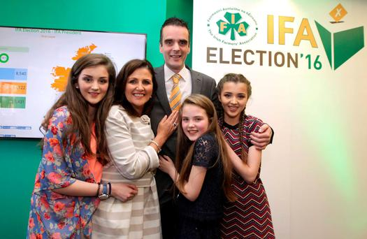 Joe Healy with wife Margaret, and daughters Kiara (13), left, Nicole (15), right, and Anna (11). Photo: RollingNews.ie
