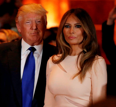 Republican US presidential candidate Donald Trump with his wife Melania at his New York primary night rally in Manhattan, New York Photo: REUTERS/Shannon Stapleton