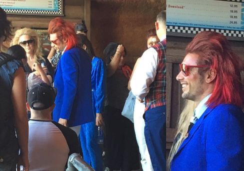 James Franco celebrates his 38th birthday in Disneyland, California dressed as Ziggy Stardust. Photo: Instagram / @neverlannder_