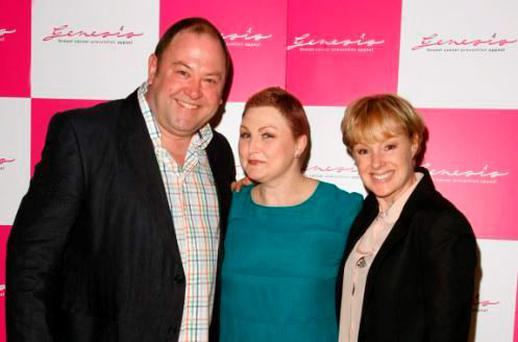 MANCHESTER, UNITED KINGDOM - MARCH 11: Mark Addy, Morag Siller, Sally Dynevor attend Cabaret for Cancer an evening of variety in aid of breast cancer charities, The Genesis Appeal and The Beechwood Cancer Care Centre at Royal Exchange Theatre on March 11, 2012 in Manchester, England. (Photo by Nathan Cox/Getty Images)